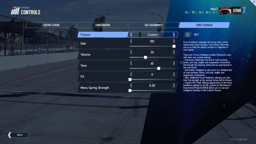 Project CARS 2 - Wheel Settings | ApexOnlineRacing com